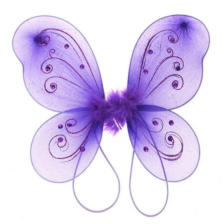 Organza Nylon Butterfly Wings with Glitters, 12-Inch, Purple - Girls Butterfly Wings