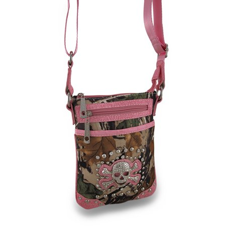 Forest Camouflage Cross Body Bag w/Mock Croc Vinyl Trim and Rhinestone (Pink Moc Croc)