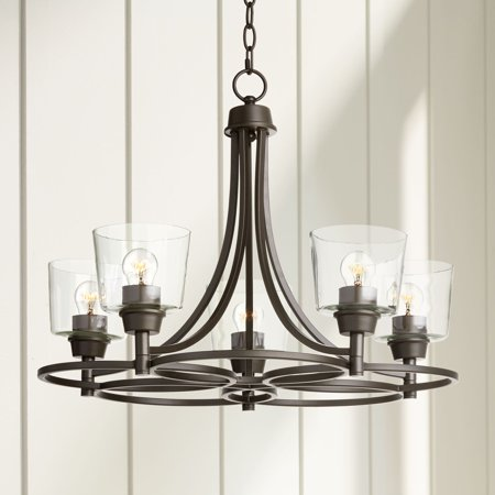 "Regency Hill Whitfield 22 1/2""W Bronze and Clear Glass 5-Light Chandelier"