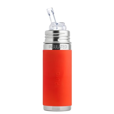 Pura Kiki 9 oz / 260 ml Stainless Steel Insulated Bottle with Silicone Straw & Sleeve, Orange (Plastic Free, NonToxic Certified, BPA