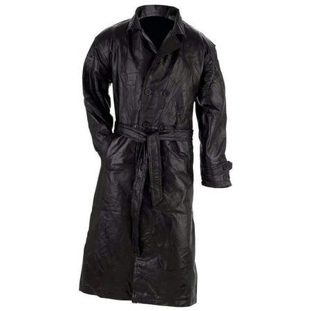 Giovanni Navarre® Italian Stone Design Genuine Leather Trench Coat
