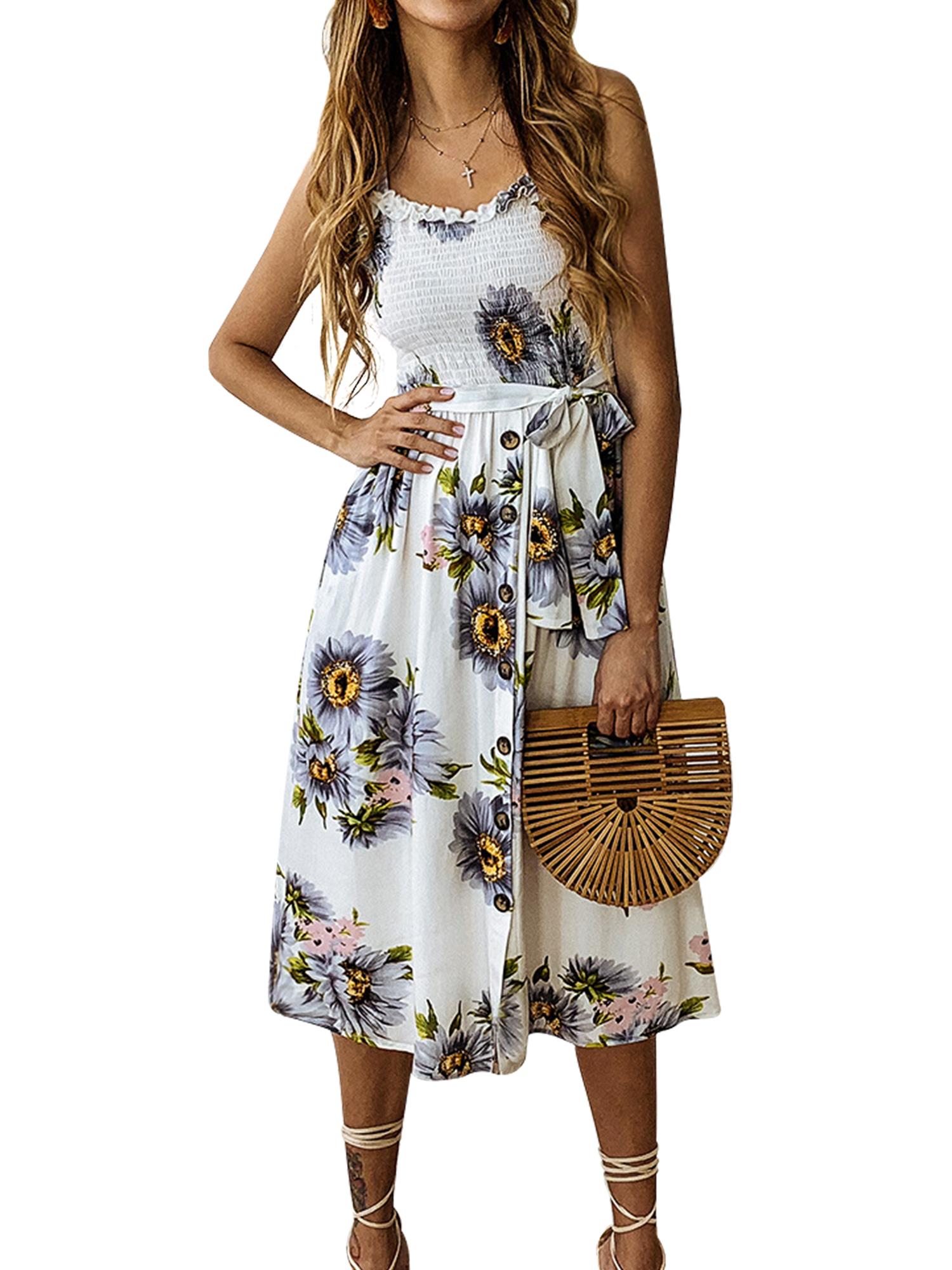 Summer Women/'s Sleeveless Strappy Button Midi Dress Holiday Beach Swing Sundress