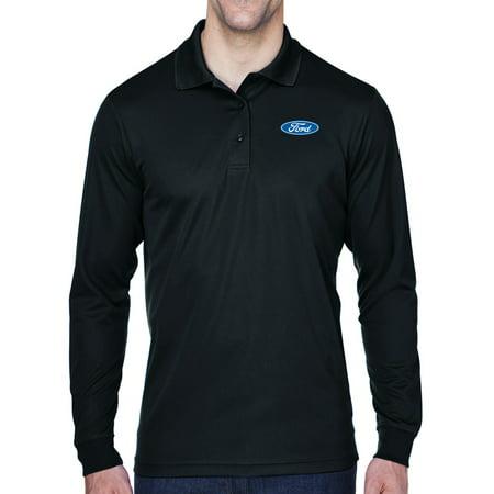 Mens Ford Oval Logo Long Sleeve Polo Shirt - Black,