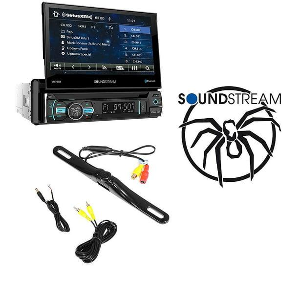 Soundstream Vr 75xb Car 1din Dvd Cd Bluetooth Stereo W Motorized 7 Quot Touchscreen W Cam 600 License Plate Bolt On Rear View Camera Walmart Com Walmart Com