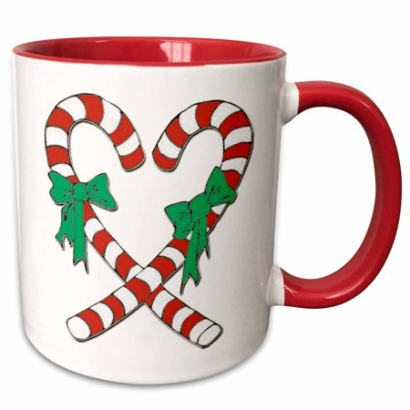 3dRose Heart Shaped Candy Canes - Two Tone Red Mug, 15-ounce - Candy Cane Heart
