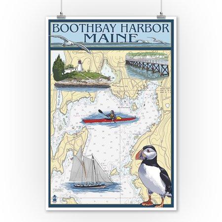 Boothbay Harbor, Maine - Nautical Chart - Lantern Press Artwork (9x12 Art Print, Wall Decor Travel Poster) ()