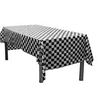 "6 Black And White Checkered Plastic Tablecloths. Measures 54"" X 108"". Disposable Plastic Party Table Covers - Racing Party Decor"