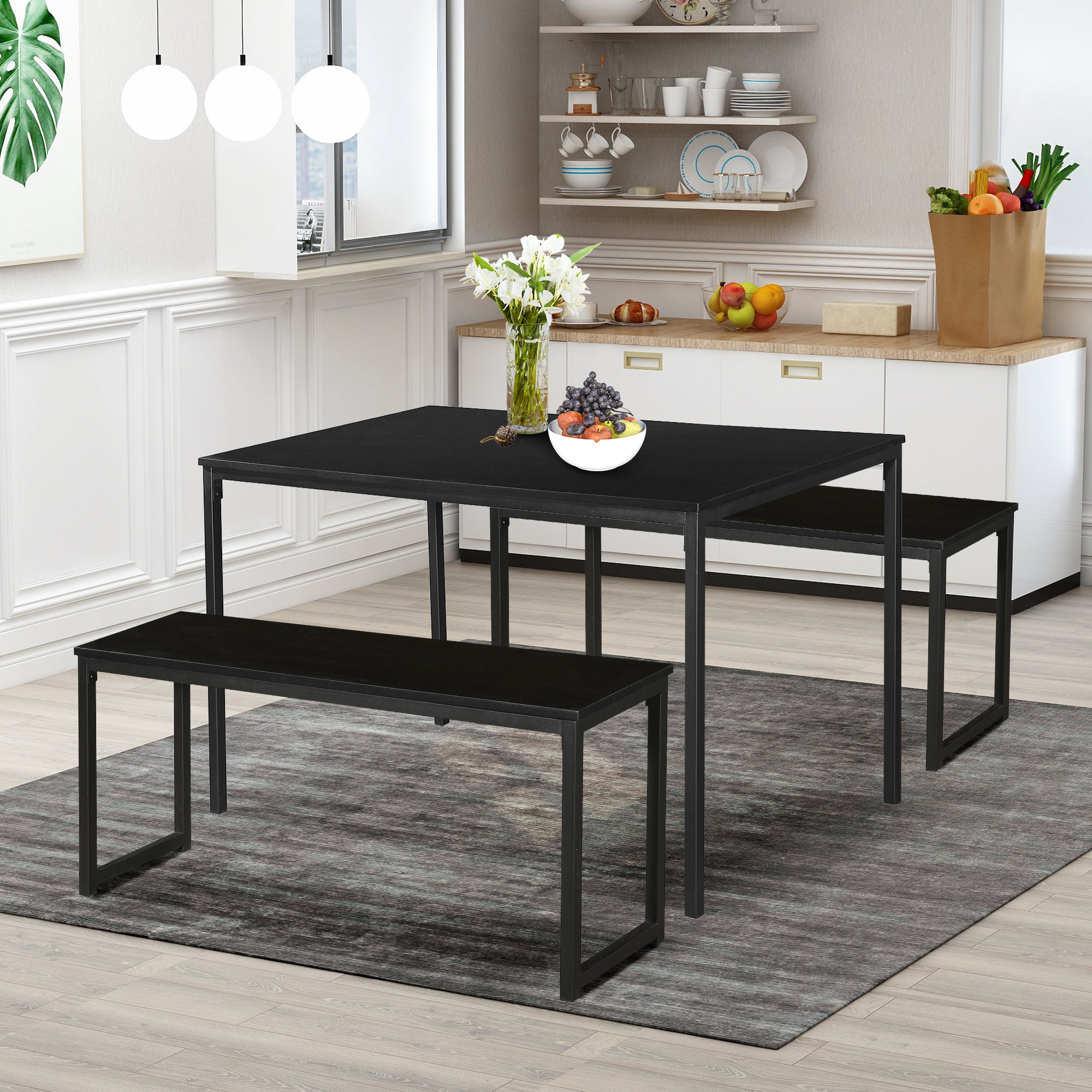 dining table set with bench 3 pieces farmhouse kitchen