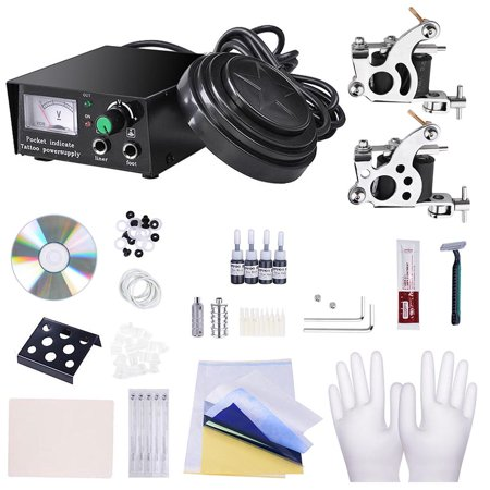 Complete Tattoo Kit 2 Machine Power Supply Grips Tips Basic Set Equipment ()