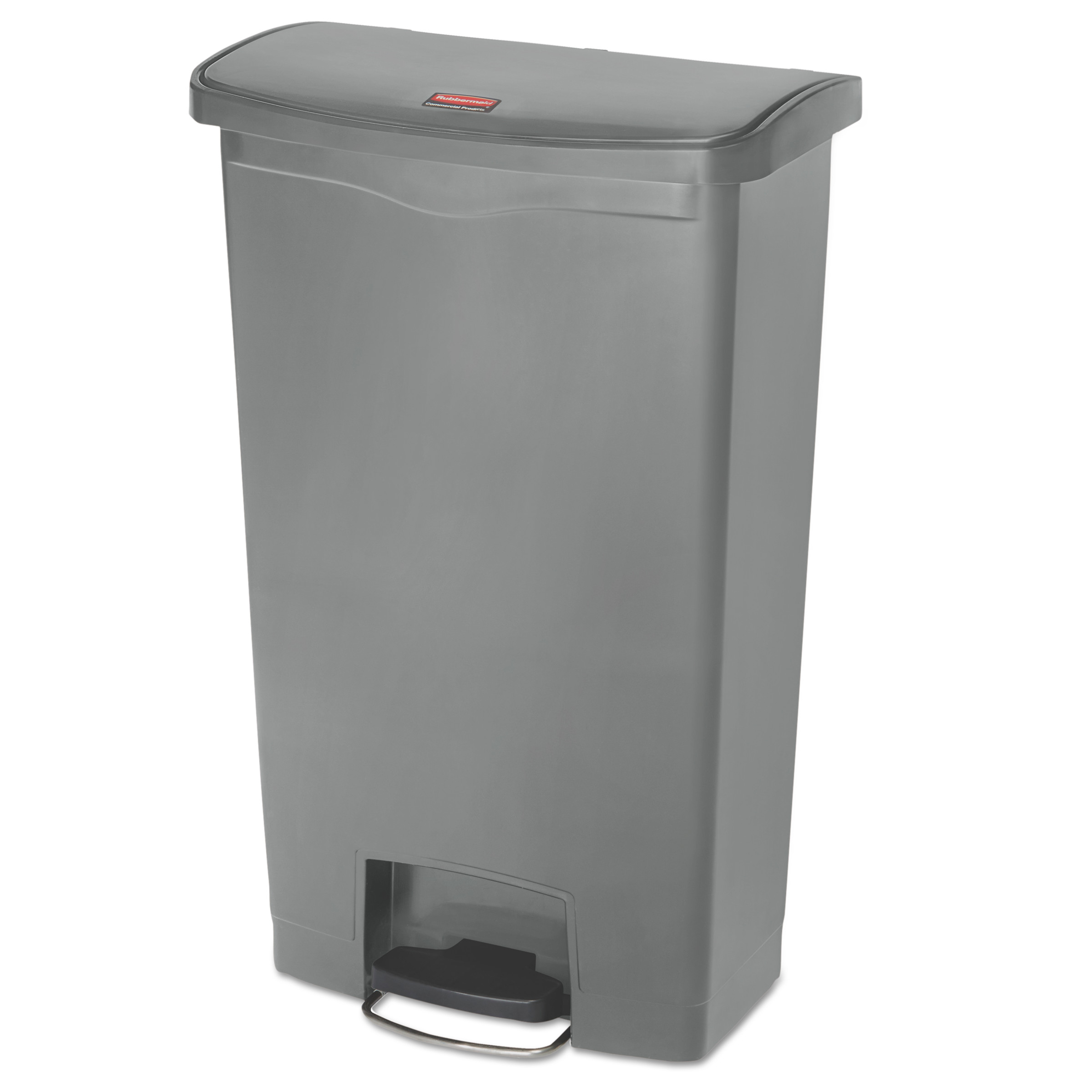 Rubbermaid Commercial Slim Jim Resin Step-On Container, Front Step Style, 18 gal, Gray