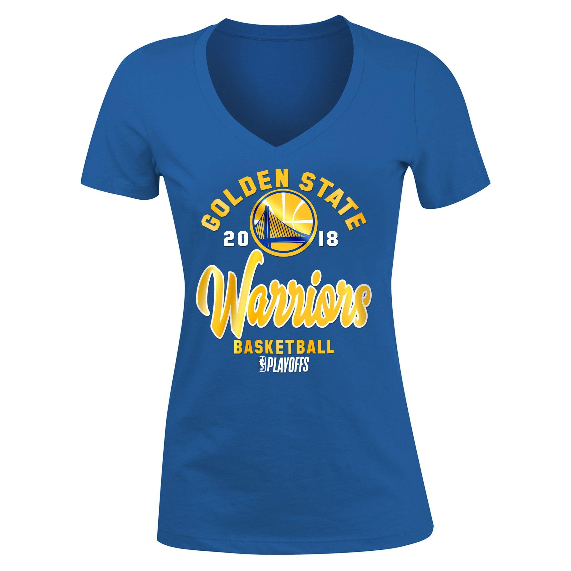 Golden State Warriors New Era Women's 2018 NBA Playoffs Baby Jersey V-Neck T-Shirt - Royal