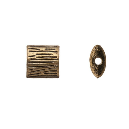 Pewter Beads, Antique-Brass-Plated, Double-Sided Engraved Line Pattern, 8x8,7mm Puff Square, Sold per pkg of 10pcs per pack ()