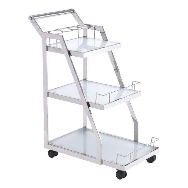 Zuo Modern Acropolis Glass Kitchen Cart in Silver