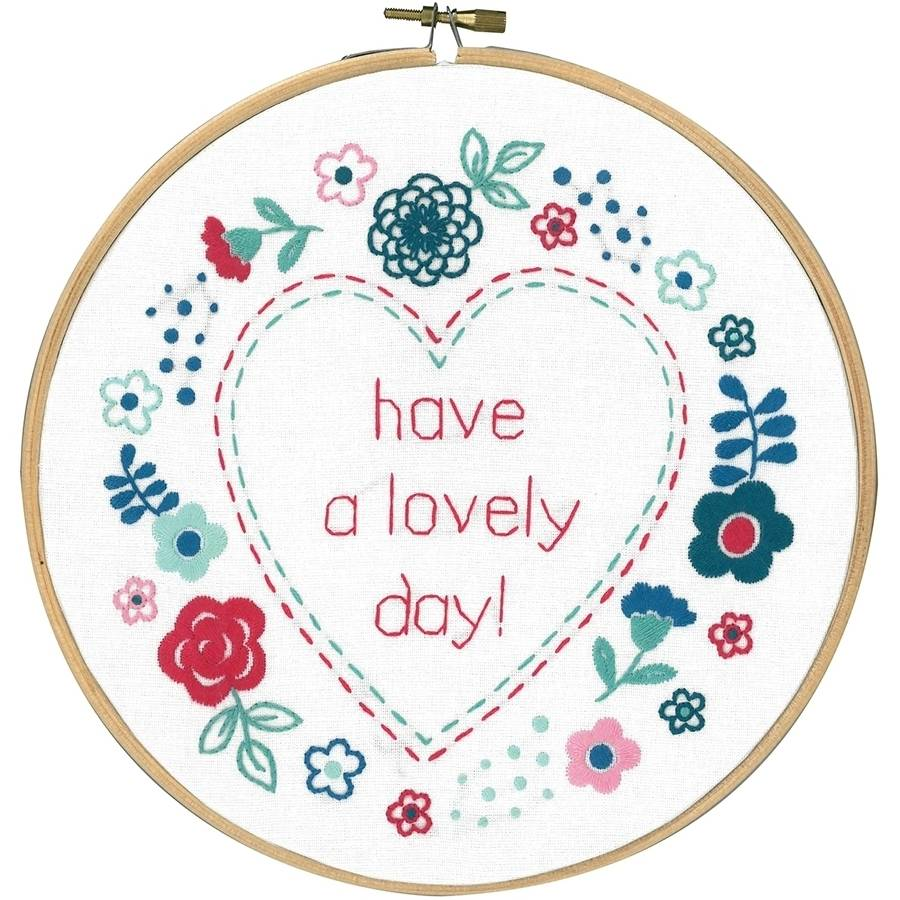 """Modern Flowers Lovely Day Stamped Embroidery Kit, 8"""" Round"""