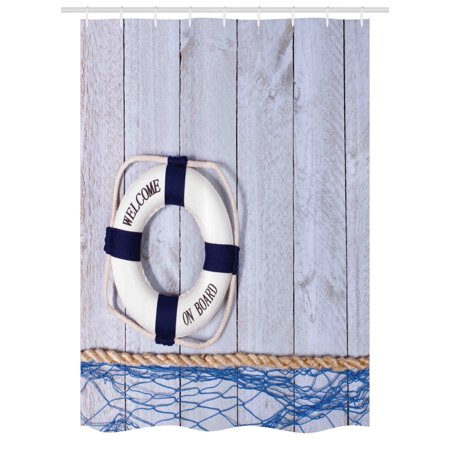 Buoy Stall Shower Curtain Welcome On Board Greeting Message Holiday Seaman Sailing Maritime Theme