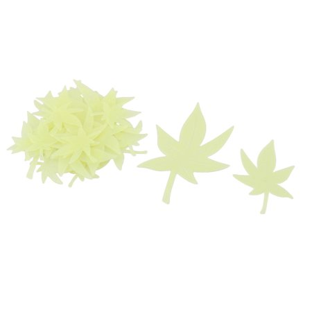 - Family PVC Maple Leaf Shaped Wall Door Mirror Sticker Decal Green Yellow 3 Sets