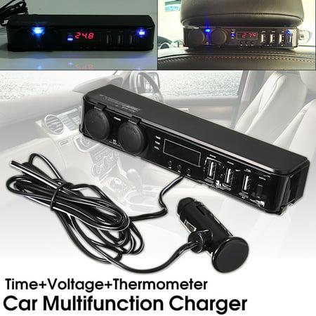 3 In1 12/24V Car Cigarette Lighter w/ 3 USB Charger LED Volt Clock Temperature - image 7 de 9