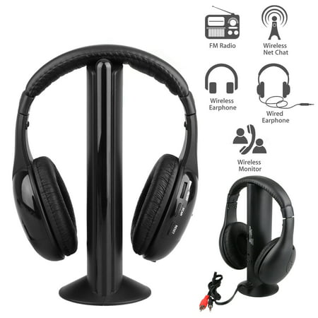 5 in 1 Headset Wireless Headphones Earphones Cordless RF Radio Mic w/ Holder Stand for PC TV DVD CD MP3