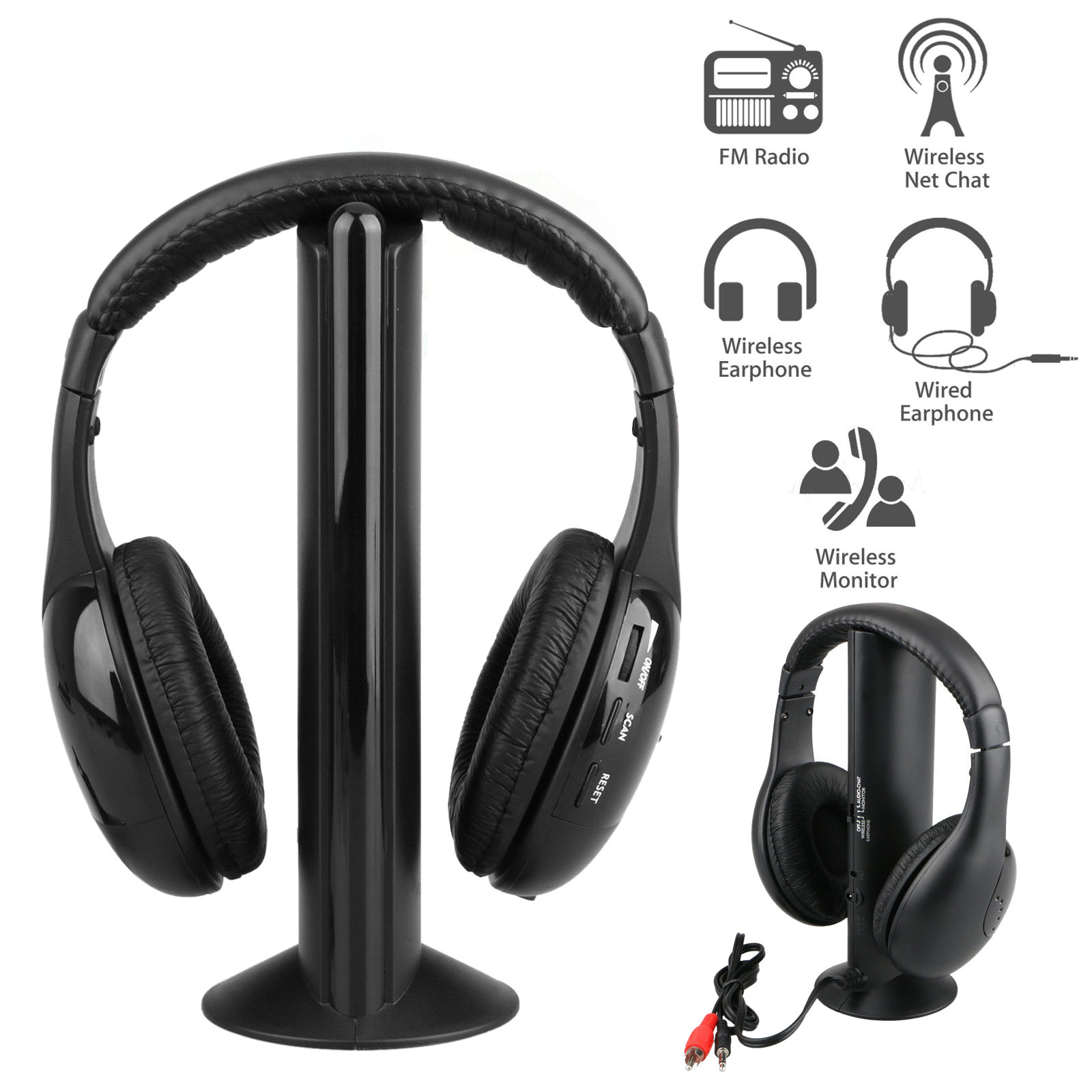 5 in 1 Headset Wireless Headphones Earphones Cordless RF Radio Mic w/ Holder Stand for PC TV DVD CD MP3 MP4
