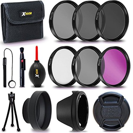 Xtech 58mm PRO Lens Accessories Kit w/ 58mm 3 Piece Filter Kit (UV FLD CPL) + 58mm ND Filters + Lens Hoods for CANON EOS 80D 70D 60D Rebel T7i T6i T6s T6 T5i T5 (58mm Lens Filter