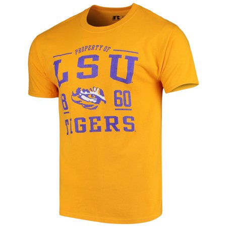 Men's Russell Gold LSU Tigers Crew Distressed Print T-Shirt