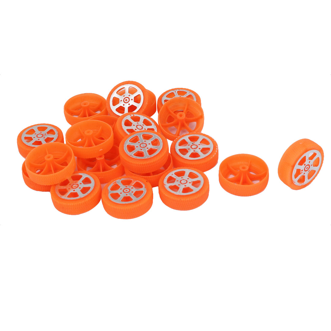 30mmx10mm Plastic Rims 2mm Dia Shaft Car Truck Model Toys Wheel Orange 20pcs
