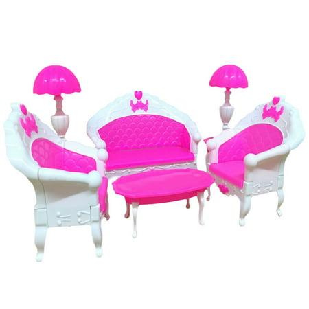 6PCS Pink Mini Living Room Sofa Furniture Sets Toy For Dolls Dream ...