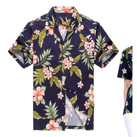 73cb4cbc Made in Hawaii Couple Matching Hawaii Luau Aloha Shirts in Navy with Pink Hibiscus  Men L Women XL