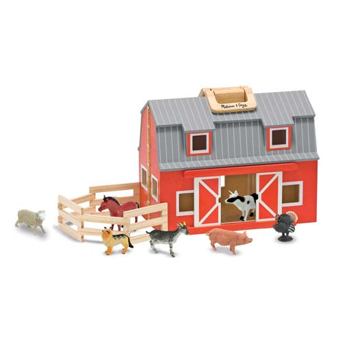 Melissa & Doug Fold and Go Wooden Barn With 7 Animal Play Figures by Melissa & Doug