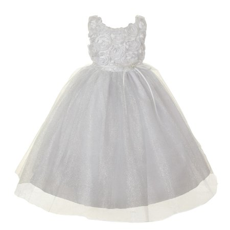 f446f7bf Little Girls White Rosette Sparkle Tulle Rhinestone Brooch Flower Girl Dress  4