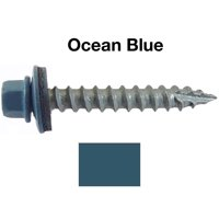 """#14 Metal ROOFING SCREWS: (250) Screws x 1-1/2"""" OCEAN BLUE Hex Head Sheet Metal Roof Screw. Self starting/tapping metal to woodsheet metal siding screws with EPDM washer. For corrugated roofing"""
