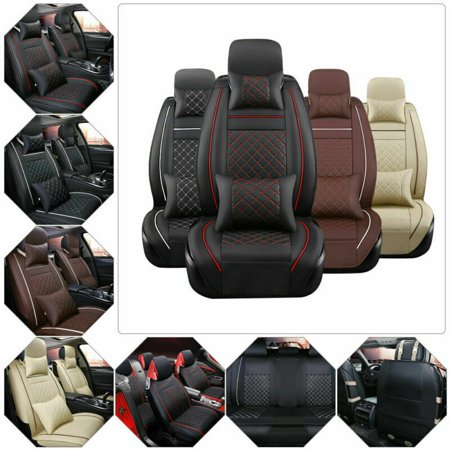 Car Seat Cover PU Leather SUV Front & Rear 5-Seats Cushion Full Set Protectors Pad Mat Auto Size With Pillows Full Set
