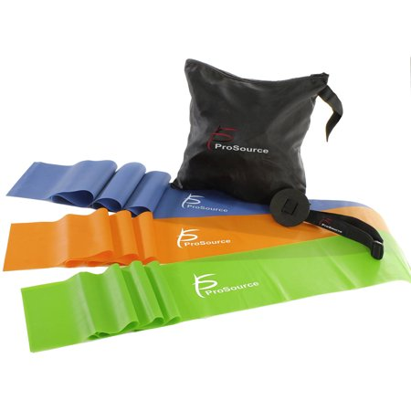 ProSource Therapy Flat Resistance Bands Set of 3 (6â each) for Stretching, Pilates, and Rehabilitation with Door Anchor