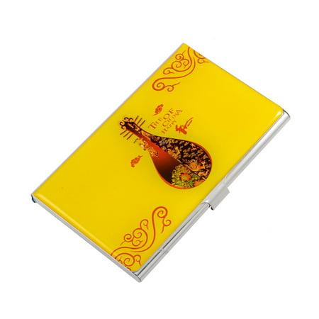 Unique Bargains Unique Bargains Chinese Pipa Print Floral Business Bank Card Case Holder Organizer Yellow