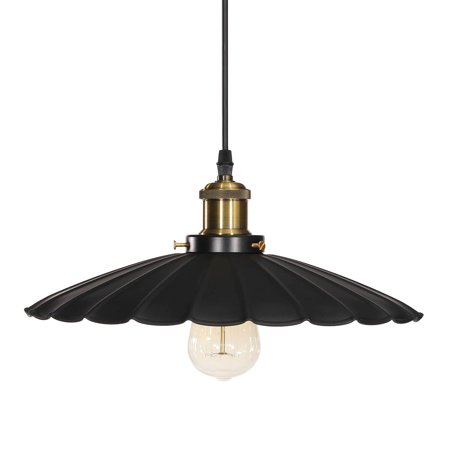 - Vintage Industrial Metal Ceiling Light Pendant Light Lampshape Fixture Hanging Barn Lampshade, Matte Black for Kitchen Living Room Bar Counter Dining Room Restaurant Pool Table