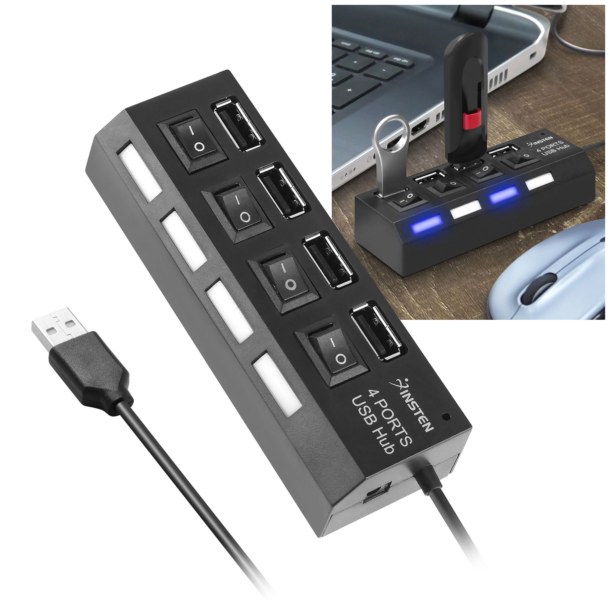 2 Pack Insten 4-Port USB 2.0 Hub with Individual On Off Power Switches and LEDs Multiple Usb Hub Adapter
