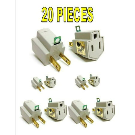 20 Pieces Electrical Ground Adapter 2 Prong Outlet to 3 Prong Plug AC UL