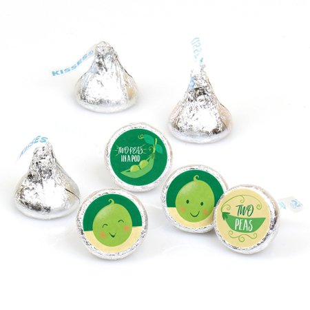 Double the Fun - Twins Two Peas in a Pod - Baby Shower or First Birthday Party Sticker Favors-Hershey's Kisses-108 - Baby 1st Birthday