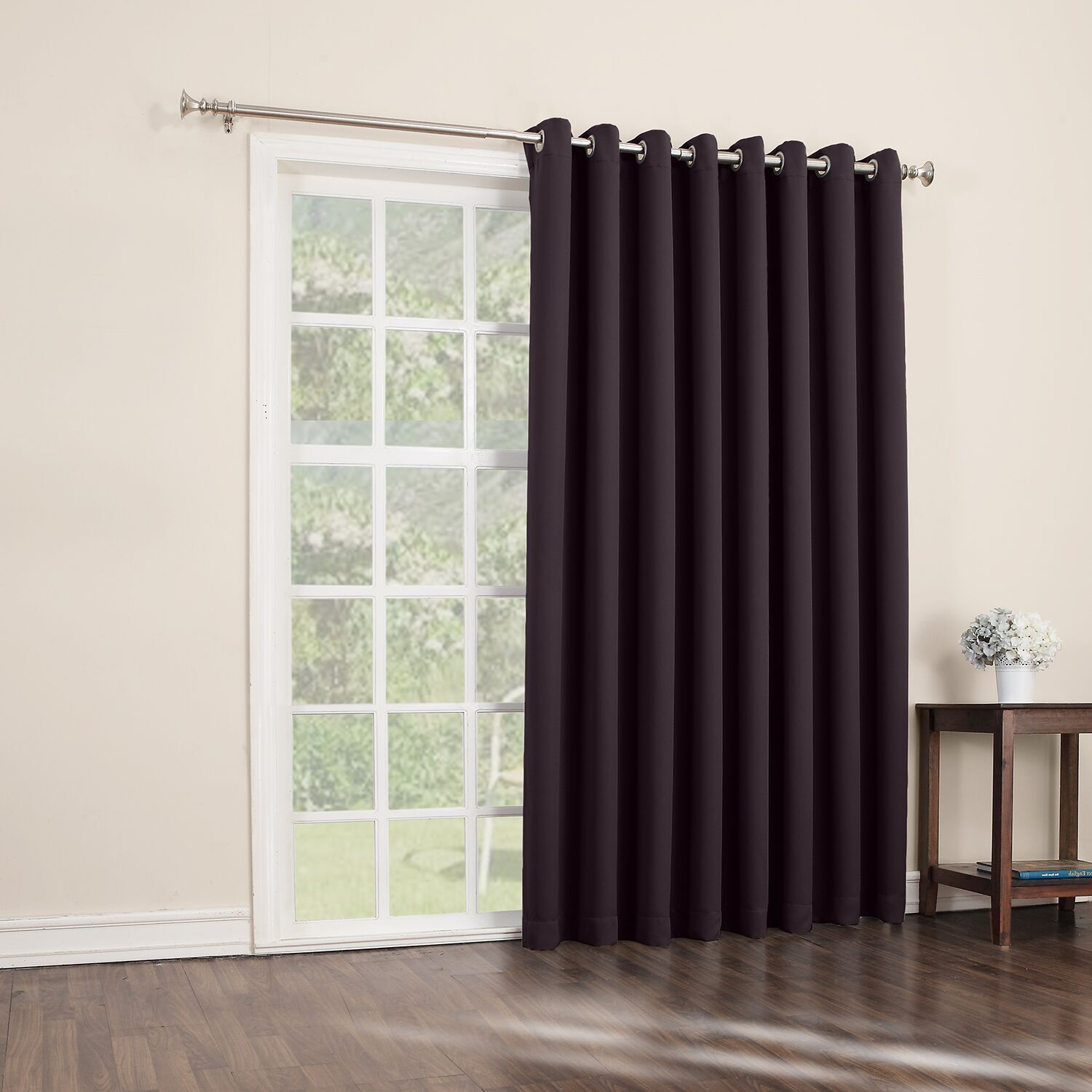 Sun Zero Conrad Extra Wide Blackout Sliding Patio Door Curtain Panel