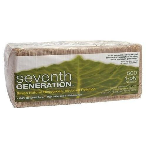 "Seventh Generation 100% Recycled Napkins - 1 Ply - 500 Per Pack - 500 / Pack - 11.50"" X 12.50"" - Brown (SEV13705)"
