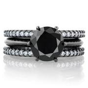 Emitations Black Cubic Zirconia Triple Row Wedding Ring Set