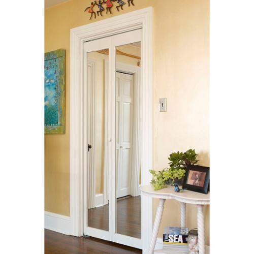 LTL Home Products 907 Traditional 36-Inch-Wide Unfinished Natural-Pine Bifold Mirror Doors