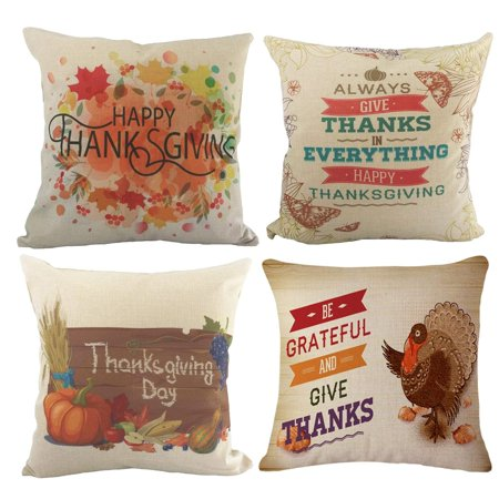 Coolmade Thanksgiving Decorative Throw Pillow Covers Cotton Linen Home Decor Design Thanksgiving Decorations for Home Sofa Bedding Throw Pillow Case Cushion Covers 18x18 Inch Set of 4