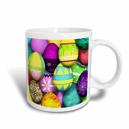 Collectable Egg Cups (3dRose Dyed Easter Eggs, Ceramic Mug, 15-ounce )