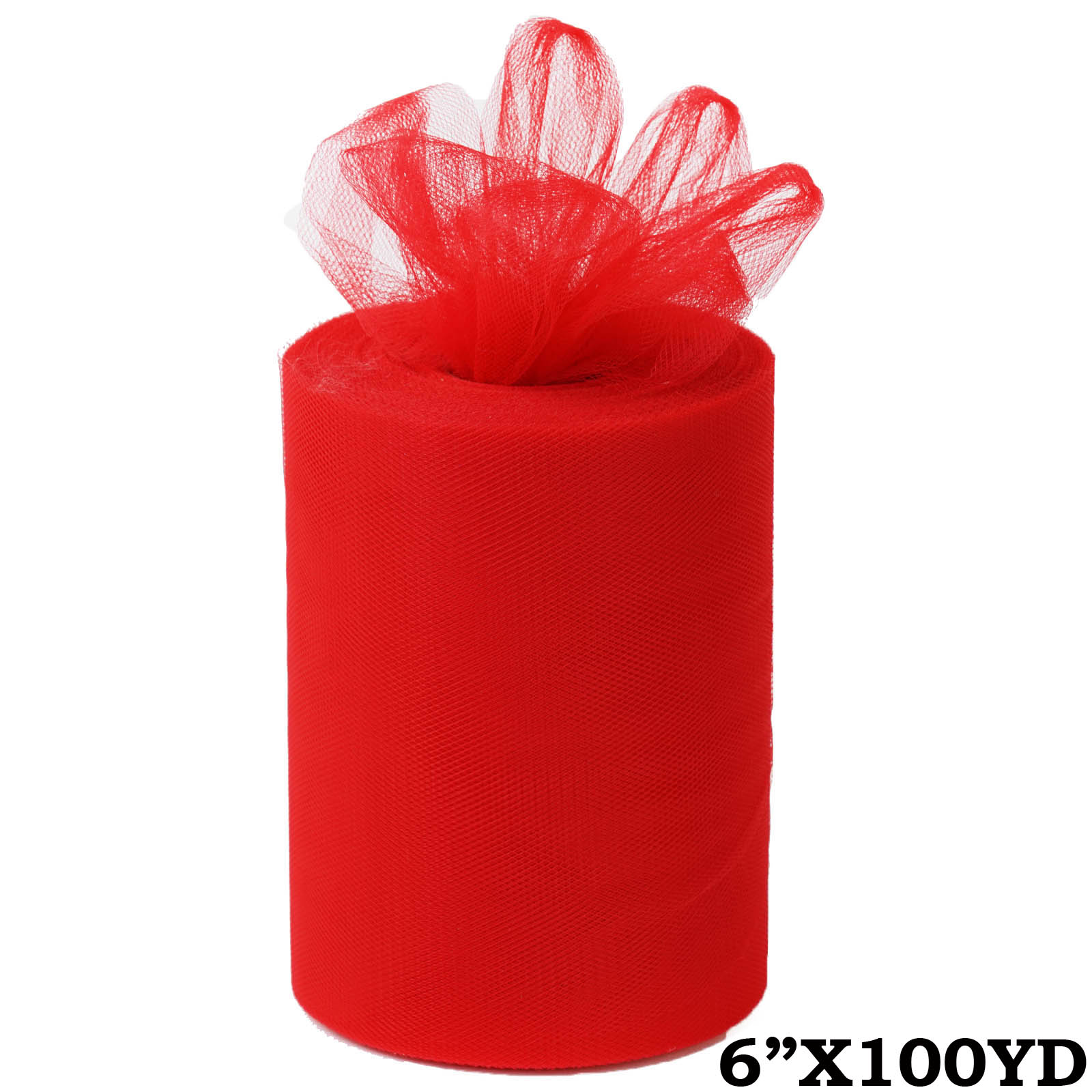 "6"" x 300 feet Wedding Tulle Roll For Crafting Favors Decor - Red"