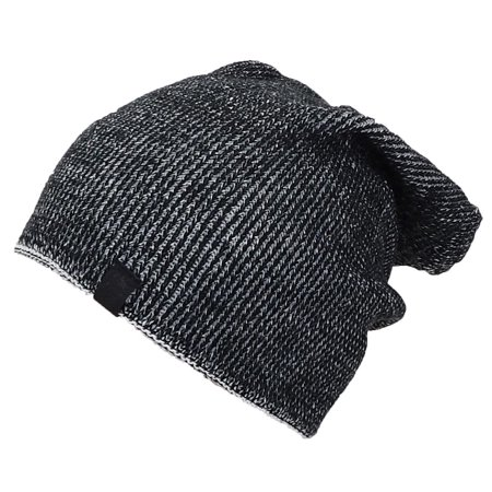 Angela & William Mens Multi-Color Rib Knit Slouch Winter Hat (One Size) - Black/White Rib Knit Hat