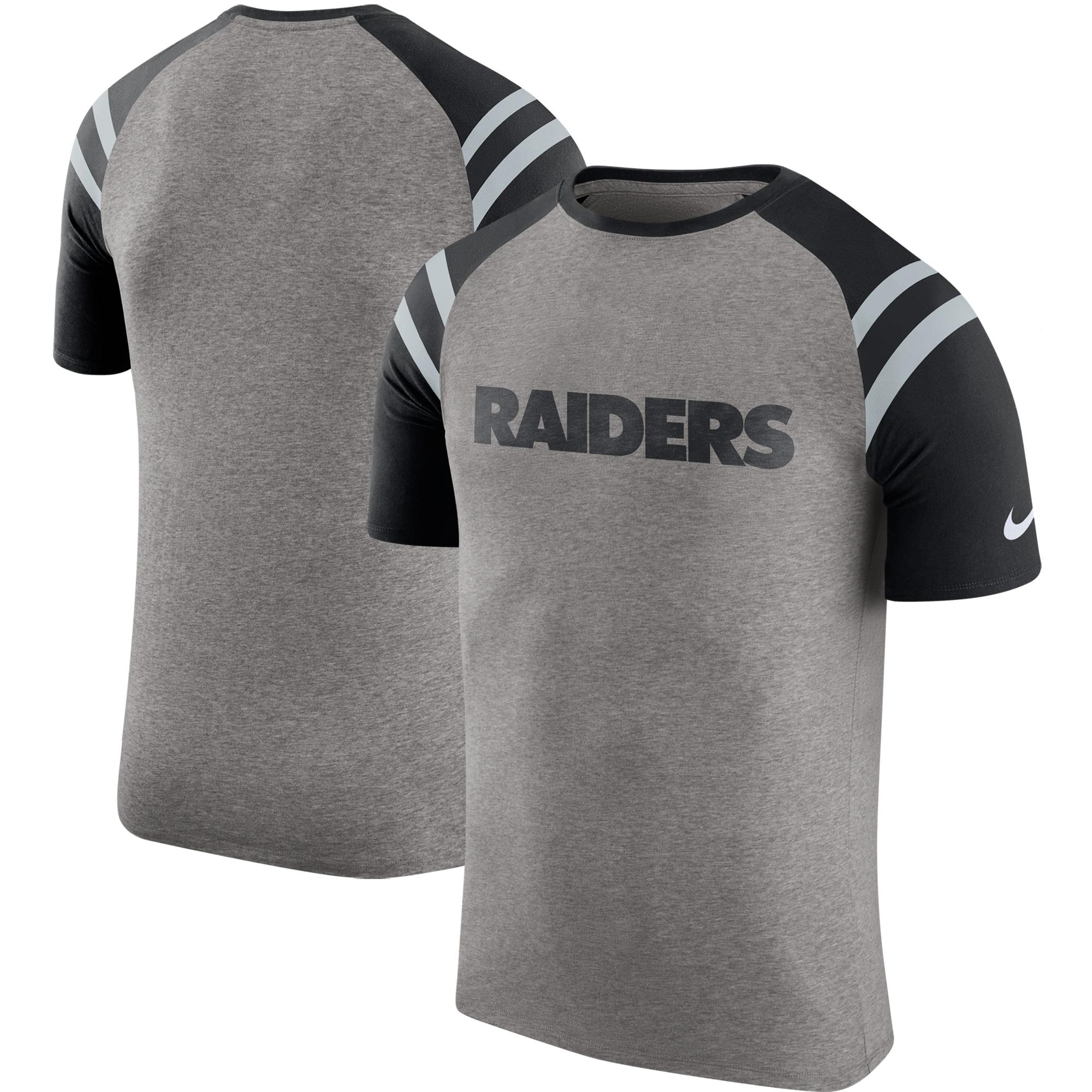Oakland Raiders Nike Enzyme Shoulder Stripe Raglan T-Shirt - Heathered Gray