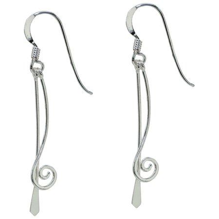 Signature Sterling Silver Stick Swirl Earrings Silver tone