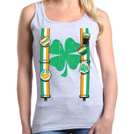 Shop4Ever Women's Irish Suspenders Shamrock St. Patrick's Day Graphic Tank - Shamrock Suit