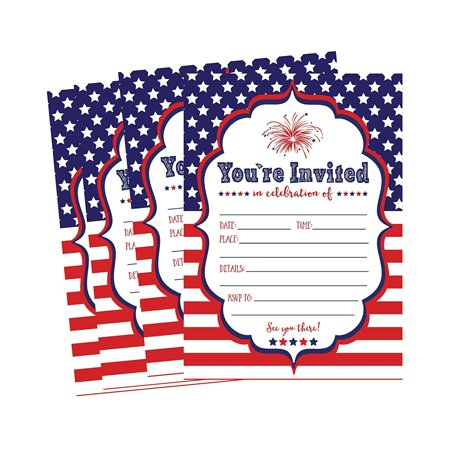 50 Patriotic Summer BBQ Party Invitations for Children, Kids, Teens Adults Fourth Barbecue Cards, Red White and Blue 4th of July Military Graduation Pool Family Reunion Invite, Picnic Cookout Invites (Printable Childrens Halloween Party Invitations)